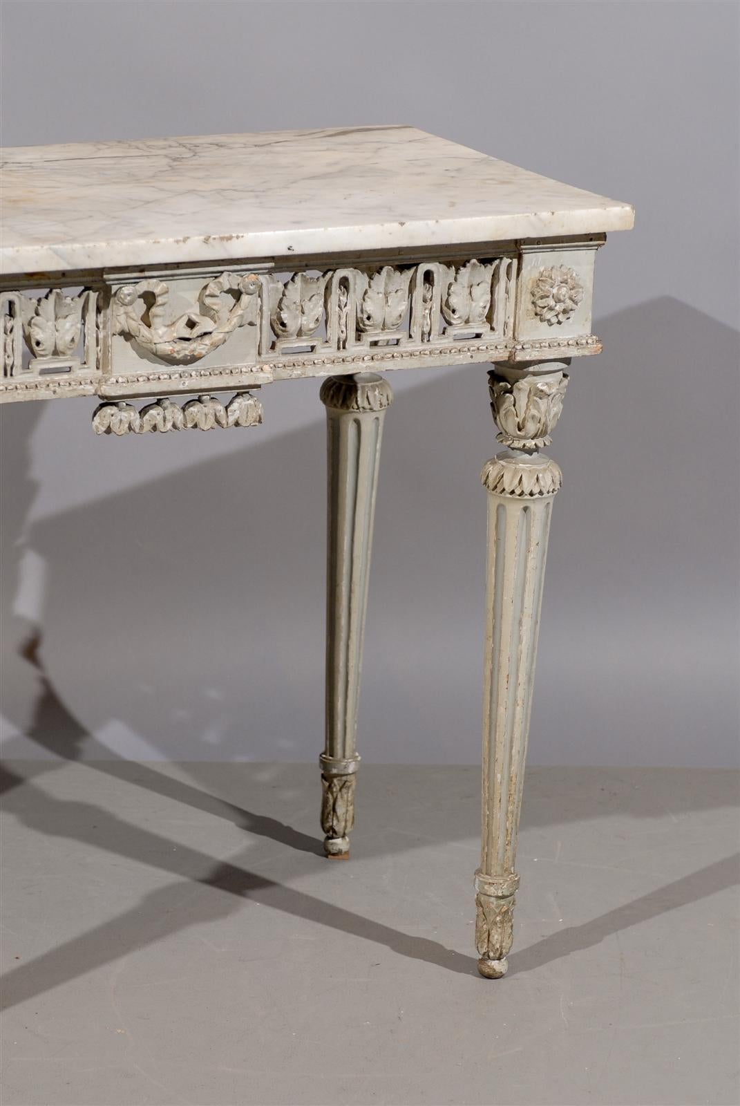 18th century french louis xvi painted console table with for Painted foyer tables
