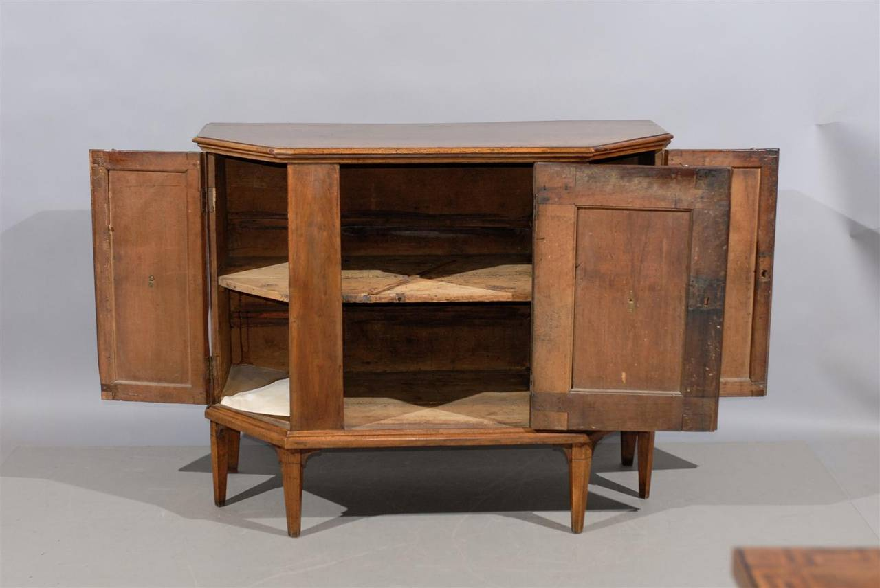 Pair Of Large Neoclassical Italian Walnut Cabinets At 1stdibs