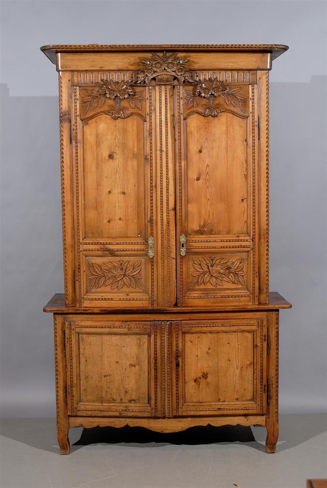 19th Century French Pine Buffet Deux Corps Normandy At