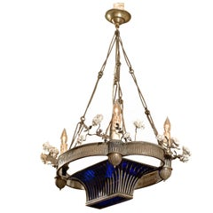 A Baltic Silvered Bronze Chandelier with Blue Glass & Flowers