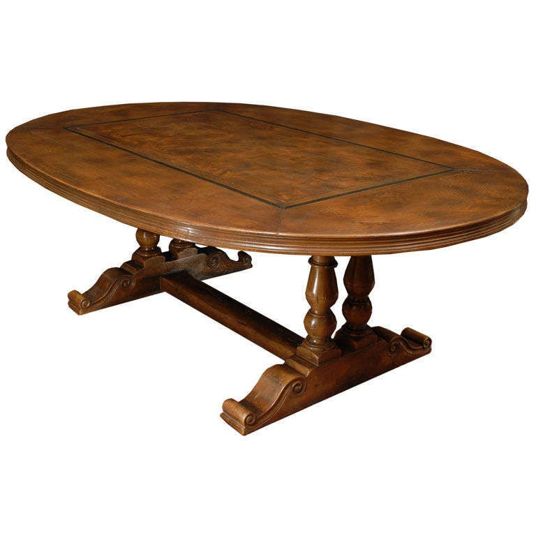 Oval Dining Table In Elm Wood On Pedestal Base French At 1stdibs