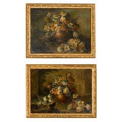 Pair of 19th Century Framed Oil on Canvas Floral Still Life's