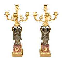 Pair of Fine Empire Patinated & Gilt Bronze Candelabras
