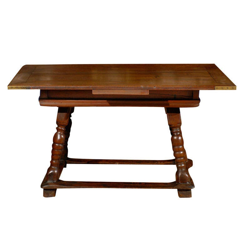 Early 19th Century Swiss Walnut Table with Stretchers