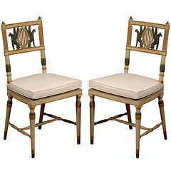 Pair of 19th Century Neoclassical Polychrome Painted and Caned Chairs
