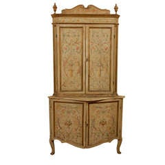 18th century Italian Painted Corner Cabinet