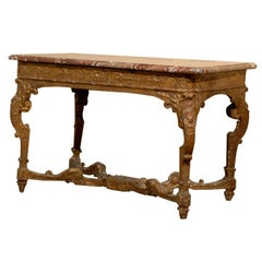 An 18th  Century Louis XIV Period Giltwood Console w/ Marble Top