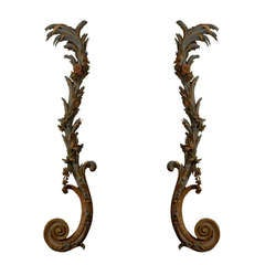 Pair of Large Continental Architectural Scroll Carvings