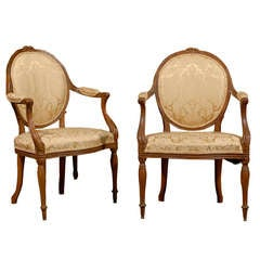 Fine Pair of George III Period Arm Chairs, England ca. 1790