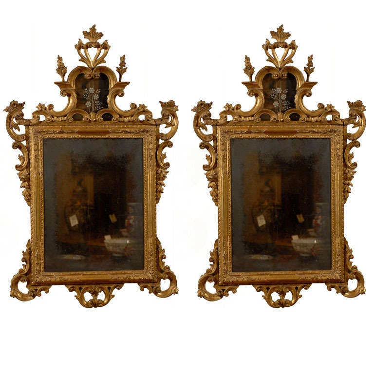 Pair of italian rococo style gilt mirrors ca 1890 for for What is the other name for the rococo style