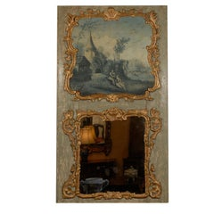 19th Century Trumeau Mirror with Grisaille Painting, France