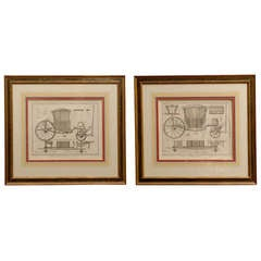 Pair of  Antique Copper Engraved Carriage Prints