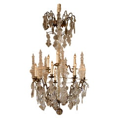 19th Century French 10-Light Crystal & Brass Chandelier
