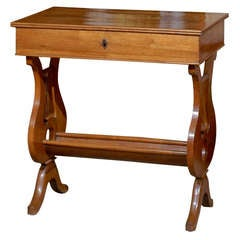 19th century French Walnut Work Table with Lyre Ends