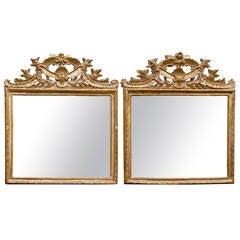 Pair of 19th Century Italian Neoclassical Giltwood Mirrors