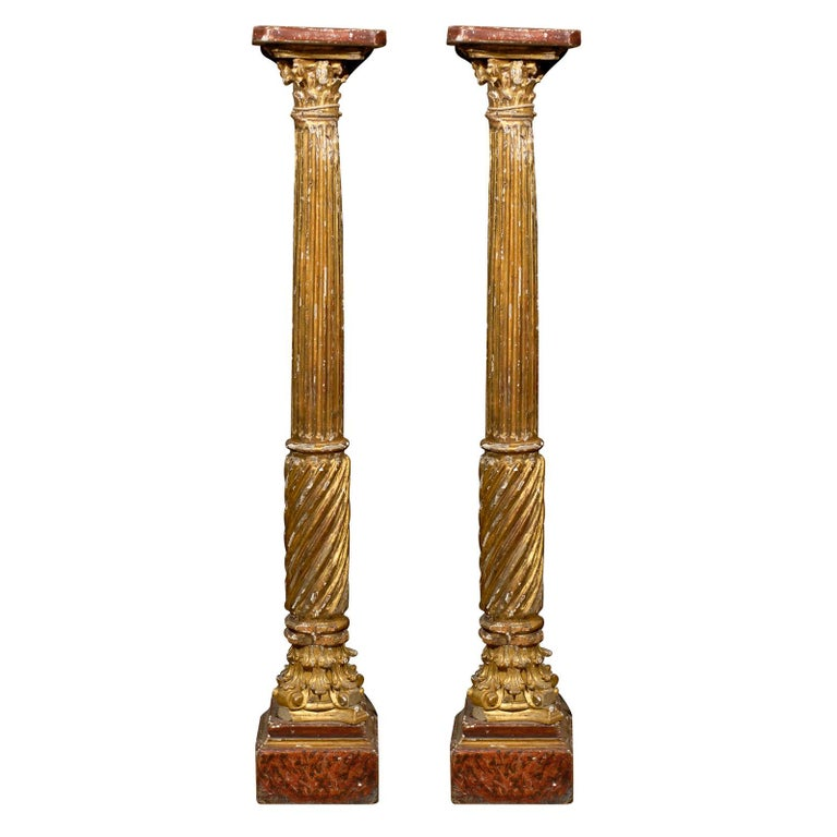 Pair of 19th Century Italian Neoclassical Gilt-Wood Columns For Sale