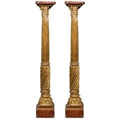 Pair of 19th Century Italian Neoclassical Gilt-Wood Columns