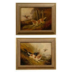 Pair of 19th Century Framed Oil On Canvas Paintings of Bird Dogs
