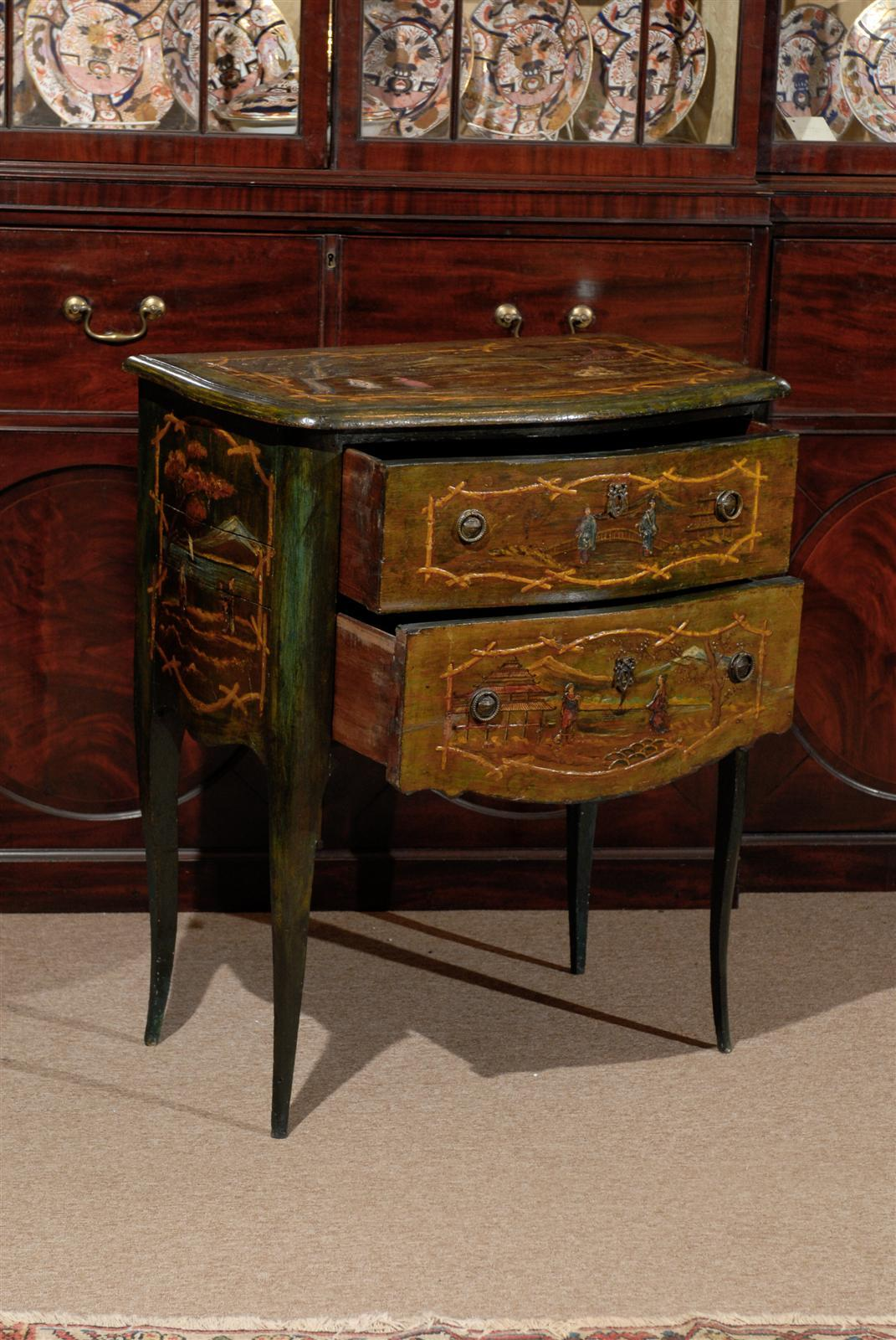 petite chinoiserie style painted commode with two drawers at 1stdibs. Black Bedroom Furniture Sets. Home Design Ideas