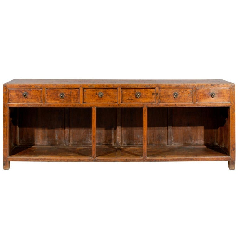 Long narrow chinese pine console table server at 1stdibs for Long narrow console