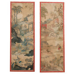 Pair of Large Framed 19th Century Chinoiserie Design Paper Panels