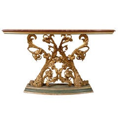 Italian Narrow Console Table with Marble Top and Gilt Carved Base