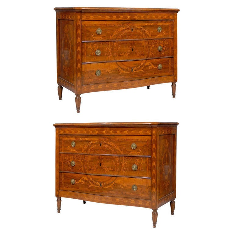 Pair of Late 18th Century Italian Neoclassical Walnut Commodes with Marquetry