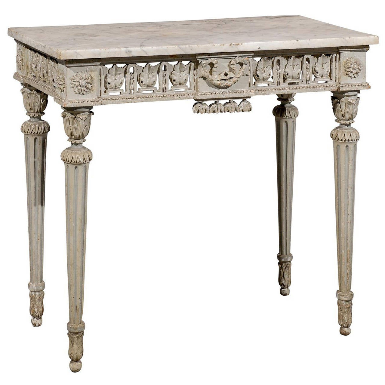 18th century french louis xvi painted console table with marble top for sale at 1stdibs. Black Bedroom Furniture Sets. Home Design Ideas