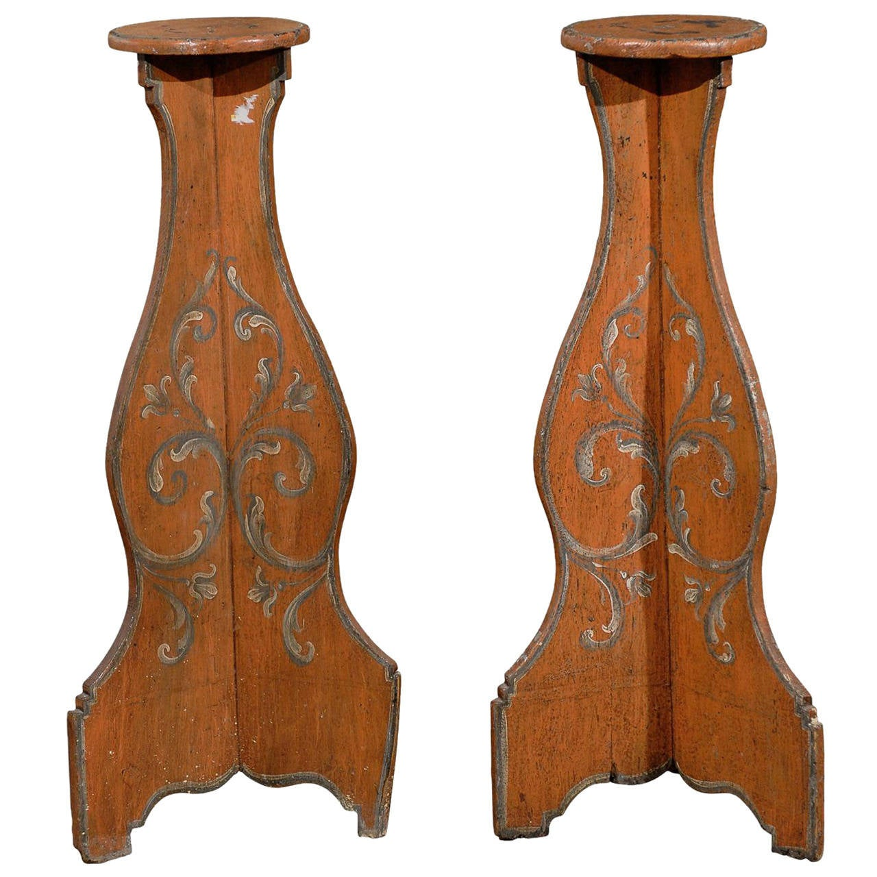 Pair of Italian Polychrome Painted Torchieres and Pedestals