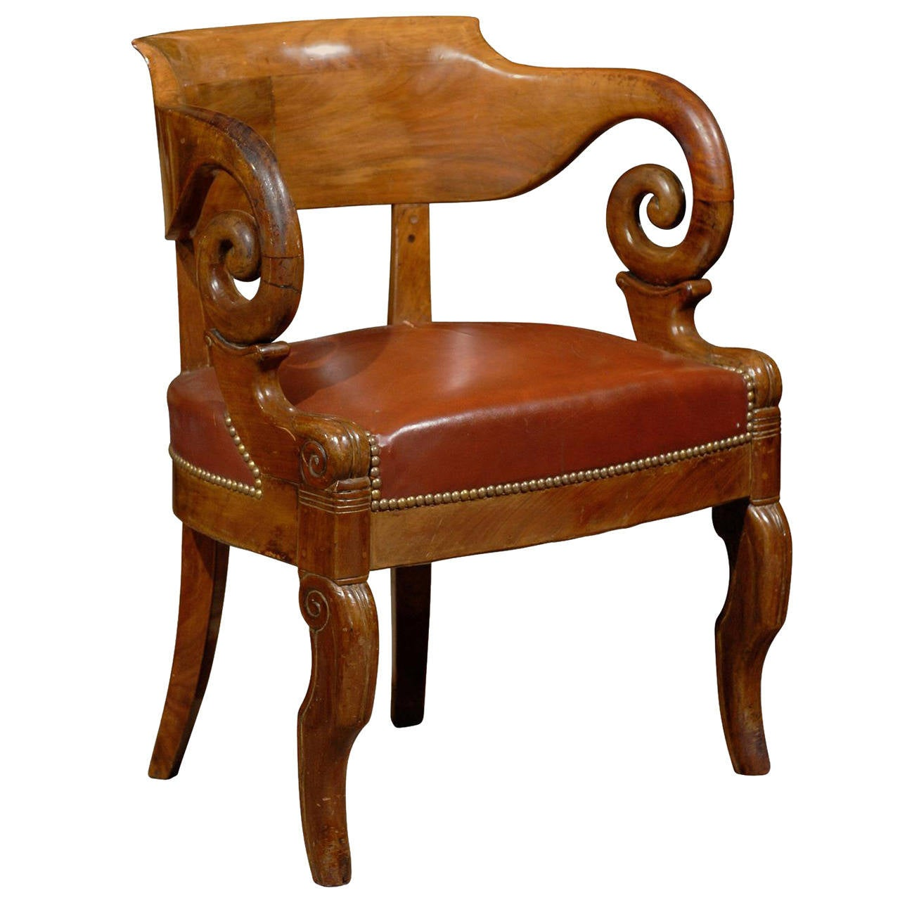 Early 19th Century French Restoration Period Walnut Desk Chair With Leather Seat For