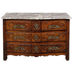 18th Century Provincial Louis XV Walnut, Three-Drawer Commode with Marble Top