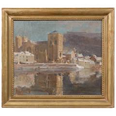 Large Gilt Framed Italian Oil on Canvas Painting of Harbor Scene, circa 1910