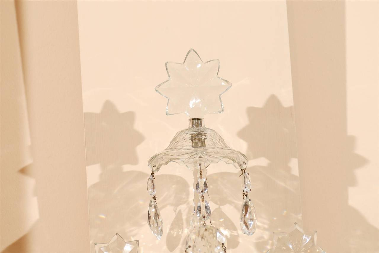 Waterford Crystal Wall Sconces : Pair of 19th Century Waterford Cut Crystal two Light Wall Sconces, circa 1830 at 1stdibs