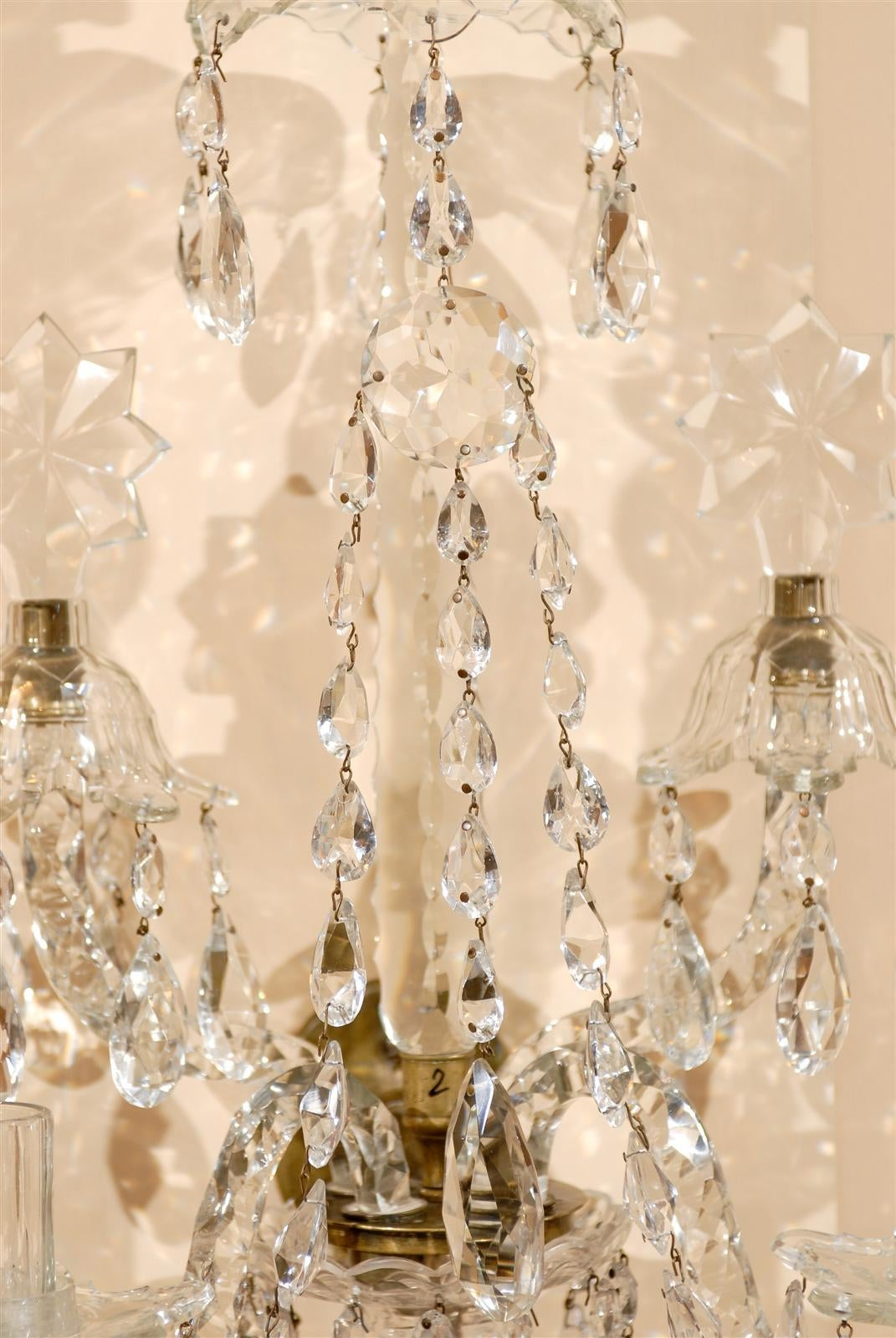 Pair of 19th Century Waterford Cut Crystal two Light Wall Sconces, circa 1830 at 1stdibs
