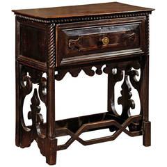 19th Century Italian Dark Walnut Console Table with Drawer