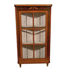 19th Century Biedermeier Corner Cupboard in Fruitwood with Inlay & Glazed Doors