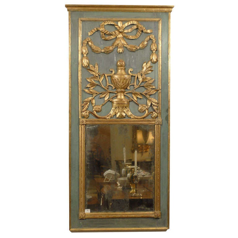 Louis XVI Period Parcel-Gilt & Painted Trumeau Mirror, c. 1780