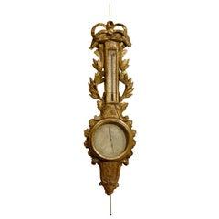 Louis XVI Gilt-Wood Barometer & Thermometer, France c. 1780