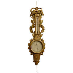 Louis XVI Gilt-Wood Barometer & Thermometer, France c. 1780