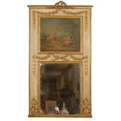 Louis XVI period Gilt & Painted Trumeau Mirror, France c. 1790