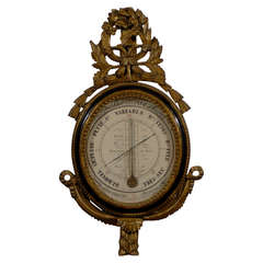 Crested Barometer with Parcel-gilt Frame, Signed and Dated 1838.