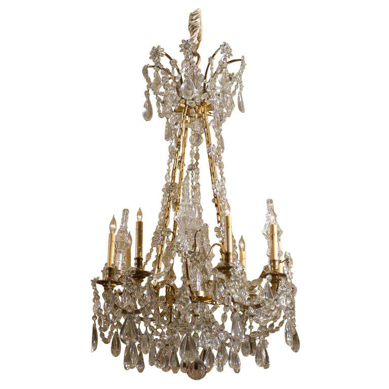 Gilt-Bronze and Cut-Crystal 8-Light Chandelier, France c. 1880