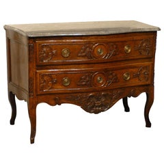 Louis XV Period Serpentine Commode in Walnut, France ca. 1750