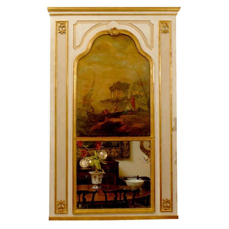 Louis XVI Style Trumeau Mirror with Seascape, c. 1860