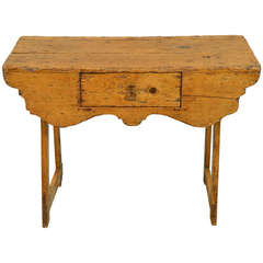 Rustic Pine Narrow Console with Shaped Apron & Drawer Early 19th Century