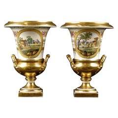 Pair Empire Period Porcelain Campana Vases, Parisian c. 1815