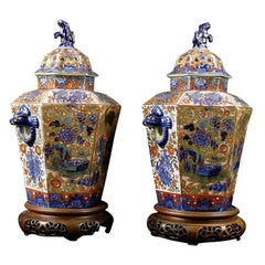 "Pair of English ""Clobbered"" Pot Pourri Urns, circa 1820"