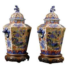 "Pair of English ""Clobbered"" Pot Pourri Urns, c. 1820"
