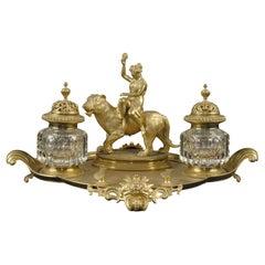 Napoleon III Period Gilt-Bronze and Crystal Inkwell Set, circa 1870