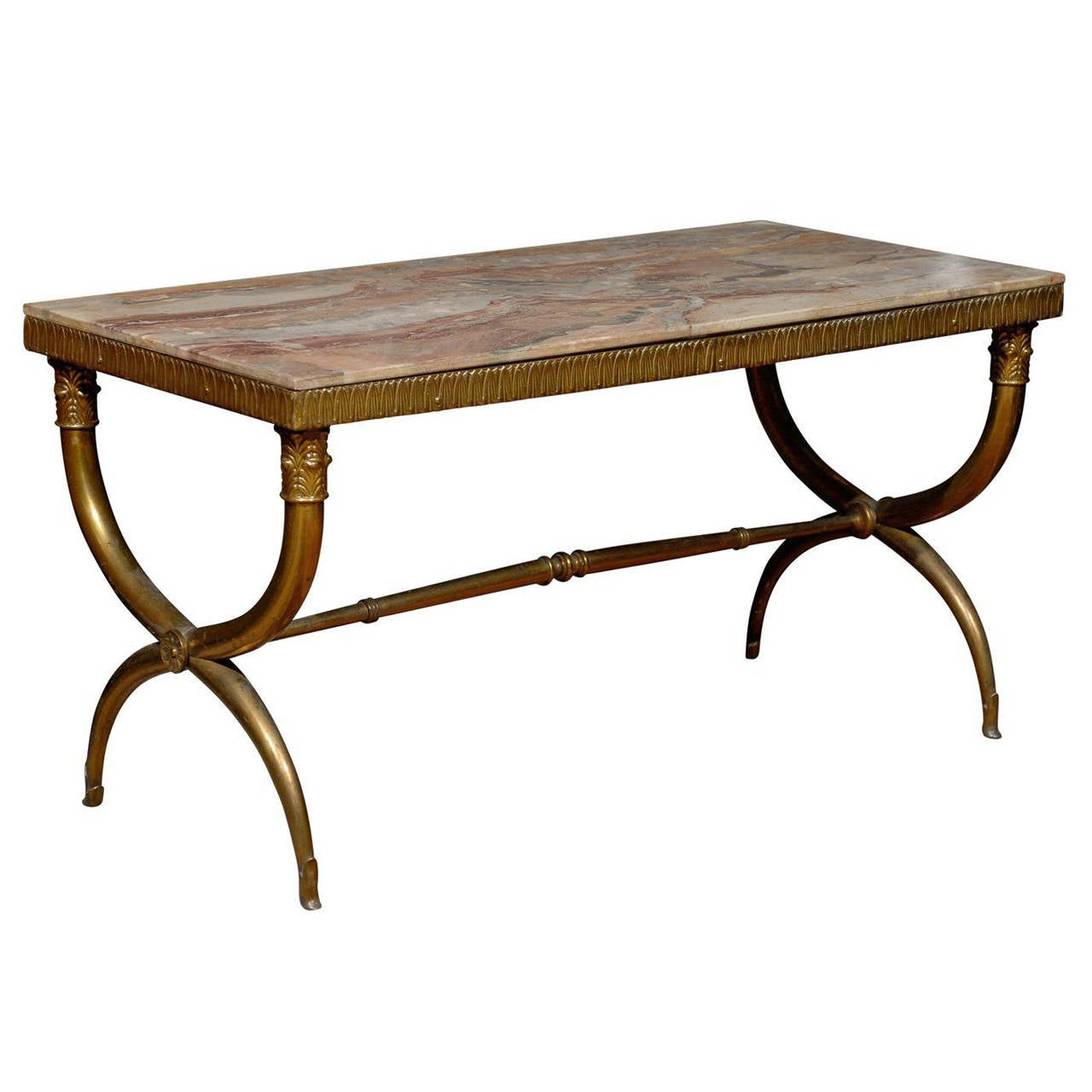 Neoclassical Style X Leg Brass Coffee Table With Marble